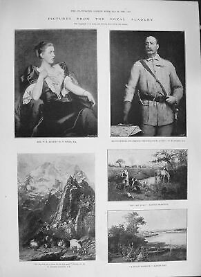 Old Antique Print 1894 Major-General Grenfell Mountain Goats Laurie Art 19th