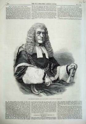 Original Old Antique Print Frederick Pollock Chief Baron Court Exchequer 1866