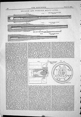 Old Engineering 1884 English Foreign Heavy Guns War Weapons Breech Ac Victorian