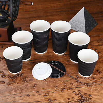 8/12/16oz Disposable Coffee Cups Tea Hot Drinks Ripple Cardboard with lid