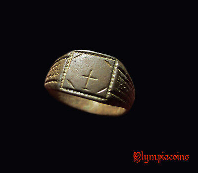 ** BEAUTIFUL  ** Ancient Byzantine Bronze ring ** CROSS **