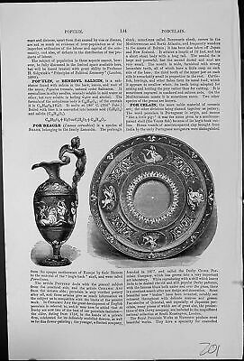 Old Antique Print Porcelain Two Examples Decorated Jug Plate Origin Word