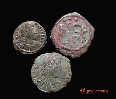 LOT of 3 Ancient Roman & Byzantine bronze coins