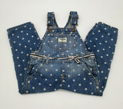 Oshkosh B'gosh Vestbak White Polka Dot Denim Overalls Vintage Style 24 Month