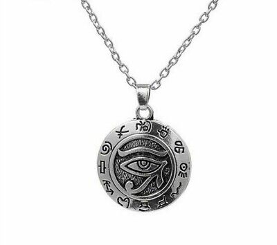 Egyptian Eye of Ra Horus Statement Necklace Vintage Silver Plated Charm Gift