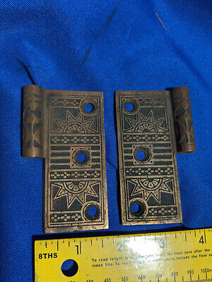 "Pair Ornate Door Hinge Victorian-Art Deco Brass Sun Star VTG Old 3.5"" Rare"