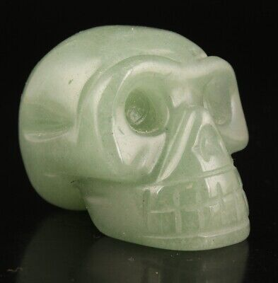 Rare China Jade Hand-Carved Skull Cool Gift High-End Collection Old