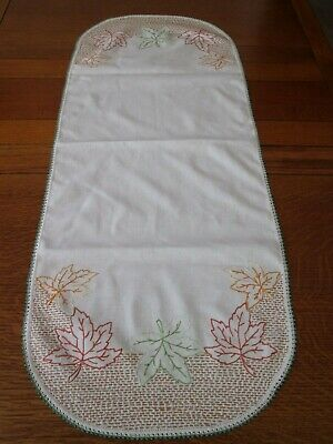 Vintage Dresser Scarf Table Runner Embroidered Fall Leaves Thanksgiving Lace