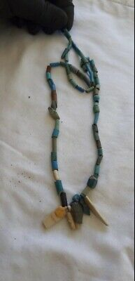 Authentic Ancient Egyptian Faience Mummy Bead Necklace,Artifact Old  1200 BC