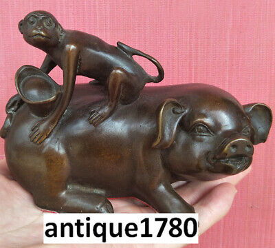 Collectible Old Brass Vintage Handwork Hammered Pig Monkey Luckypromotion Statue