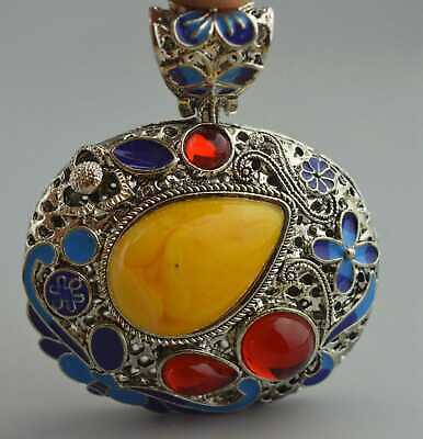 Collectable Handwork Miao Silver Carve Flower Inlay Agate Auspicious Old Pendant
