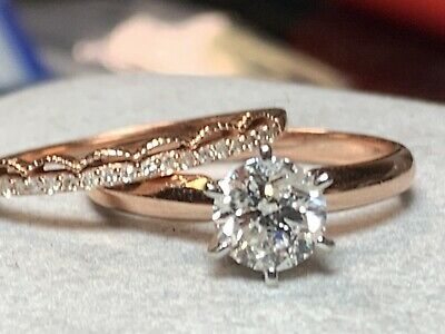 Certified 1CT Diamond Solitaire Engagement Ring With Wedding Band 14k Rose Gold