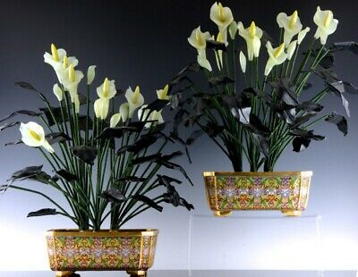 Superb Pair Chinese Cloisonne Enamel Gilt Bronze Planter Jade Flower Studies