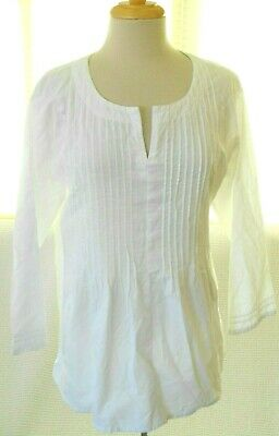 SIMPLY WHITE Handmade Guatemala Size Large White 100% Cotton Pintucked Tunic Top