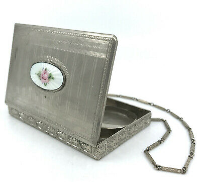 Art Deco CarryAll Powder Compact Rouge Wristlet 1920s Guilloche Rose Chain Strap