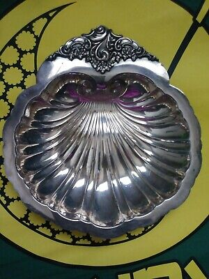 """Vtg Baroque By Wallace 277 Silverplate 7"""" Candy Serving Dish Clam Shell Ornate"""