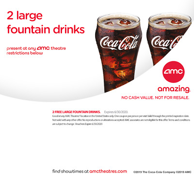 AMC Movie Theater 2 Large Fountain Drinks coke ***emailed to you*** exp 6/30/20