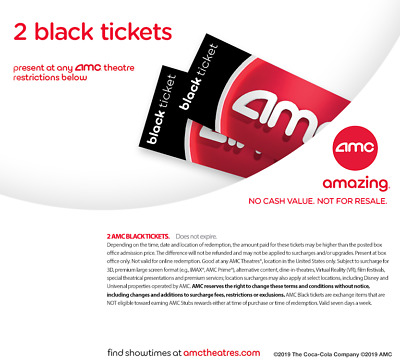 AMC Movie Theater 2 black movie tickets **emailed** - no expiration
