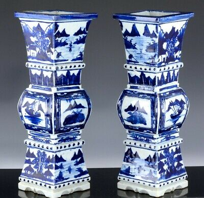 Large Pair Old Chinese Blue & White Landscape Faceted Alter Vases