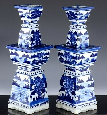 Large Pair Old Chinese Blue & White Landscape Faceted Alter Candlesticks