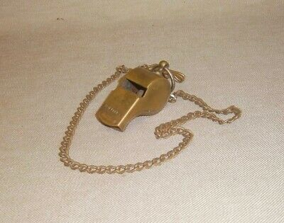 Vintage WWII US Army Brass Whistle MP Military Police Original Chain