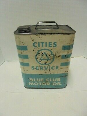 8 quart metal  can cities service blue club motor oil gas station garage decor