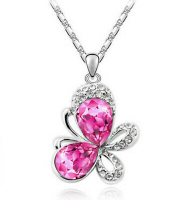 European fashion Rose crystal Silver butterfly Pendant Necklace jewelry wedding