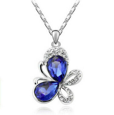 European fashion blue crystal Silver butterfly Pendant Necklace jewelry gift
