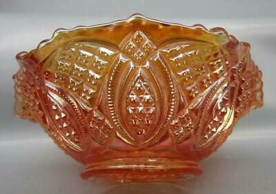 """Imperial DIAMOND RING Marigold Carnival Glass Ruffled 5½"""" Berry Bowl 7308"""