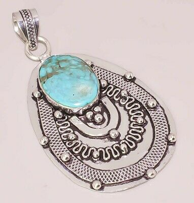 Natural Tibetan Turquoise Antique Style 925 Sterling Silver Plated Pendant
