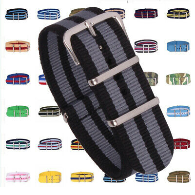 New 18mm Cambo Stripes Watchband Woven Nylon Watch Straps Wristwatch Bands