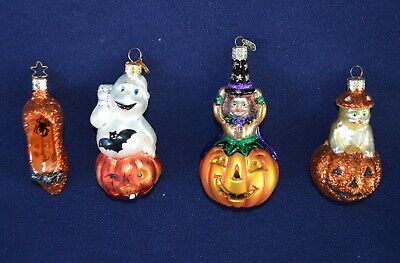 4 Halloween blown glass Ornaments Old World Christmas OWC Radko witch cat Lot