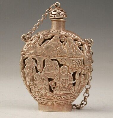 Tibetan Silver Snuff Bottle Handmade Carving Buddha Statue Hollowed Pendant Old