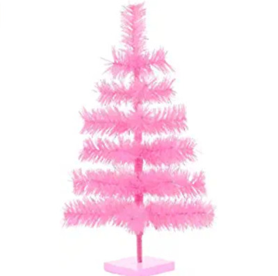 18' Pink Christmas Tree Table-Top Centerpiece Small Barbie Pink Tinsel Branch We