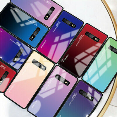 Tempered Glass Gradient Case For Samsung Galaxy S10 Note 10 TPU Shockproof Cover