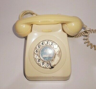 Vintage With Bell Antique Telephone Rotary Dial Desk Beige Electric Telephone