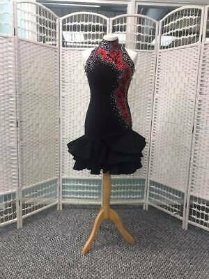 Stunning Black And Red Stoned Latin Dance Dress (48)