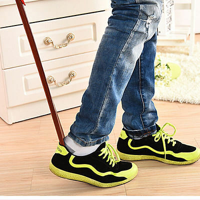 Professional Wooden Long Handle Shoe Horn Lifter Shoehorn High quality 55cm_ns