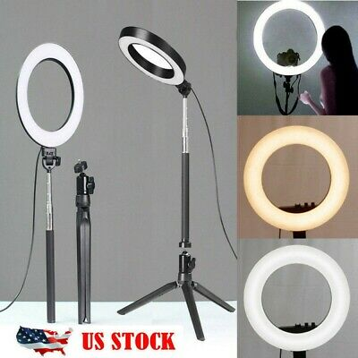 """8"""" Dimmable 5500K LED Ring Light Kit with Stand for Makeup Phone Camera Selfie U"""