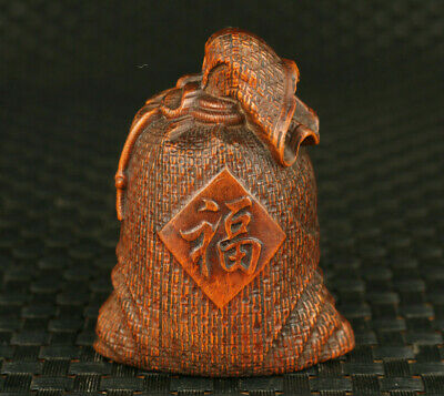 chinese old boxwood hand carved lucky bag statue netsuke decoration Hand pieces