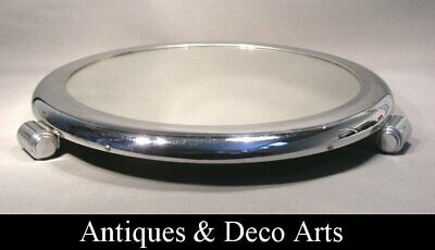 Circular Art Deco Tray from Chrome-plated Metal, Wood and Mirror Plate