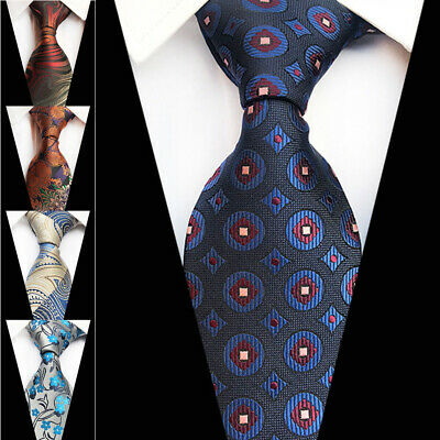 Classic Gold and Blue Solid Mens Tie Silk Necktie Set Paisley Wedding Jacquard