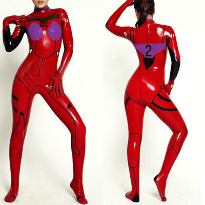 Latex Catsuit  Rubber 0.4mm Suit Red with Purple Kostüm Overall Bodysuit S-XXL