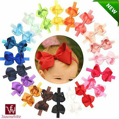 Baby Girls Toddler Hair Bows Headbands Large Pack of 20 (Soft Elastic Stretchy)