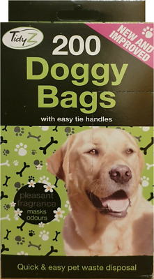 Doggy Poo Bags Dogs Dog Puppy Waste Poop Disposal Easy Tie Handle QTY 200