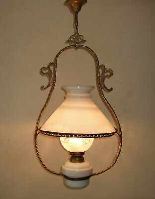 Antique  Classic French  Gilt Bronze And Opaline Glass  Lantern Chandelier