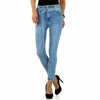 HIGH WAIST SKINNY DAMEN JEANS XL/42 Blau 5767