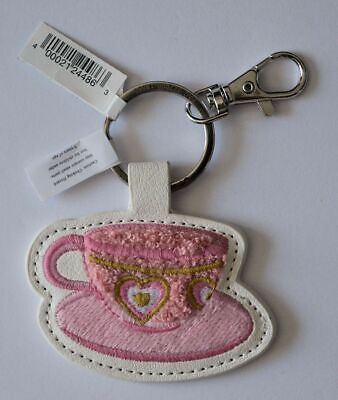 Disney Parks Alice in Wonderland Teacup Fuzzy Keychain Latch Style New With Tags