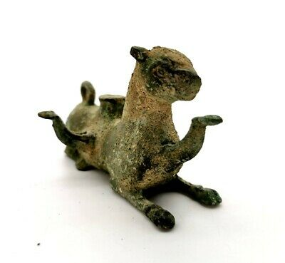 ANCIENT ROMAN  Ca.300AD BRONZE OIL LAMP IN THE SHAPE OF A JAGUAR - R4