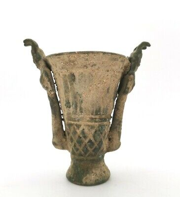 Ancient Greek Bronze Ritual Chalice With Two Figures R 8